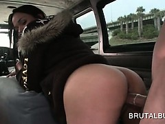 Sex bus hot amateur pussy pounded deep from behind