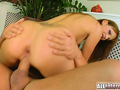 A cute little redhead gets her pussy pounded hard. A thick white load of cum drips perfectly from inside of her freshly fucked and cum loaded pussy