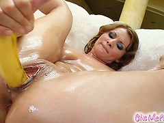 Johanna rubs herself full of oil and then sticks a massive cucumber into her tight pussy. She finished up with a banana and a milk enema. Givemepink banana milkshake!
