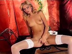 petite-blonde-rubbing-herself-in-white-lingerie