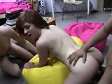 Two amateur girls fucking with young fag