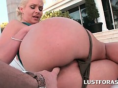 Big ass girl finger teasing her smooth muffin by the pool