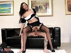 Stockings Brit Milf Maid Rides