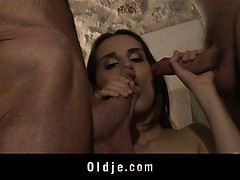 Horny Grandpas Fuck Two Escort Teens In Vacation