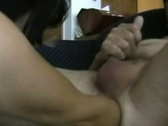 Wife In Mask Fucks Hubbys Ass With Arm While He Jerks Off