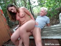 Chubby blond chick with nice tits takes part2