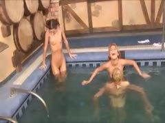 Three Danish Teenies In The Pool